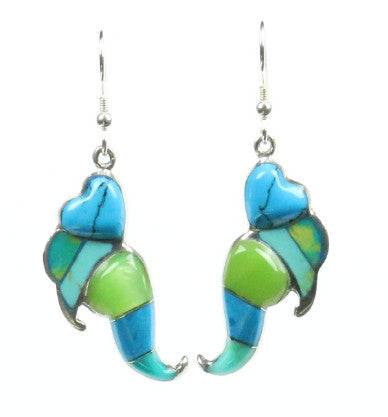 Mexican Earrings Heart Drop Blue/Green