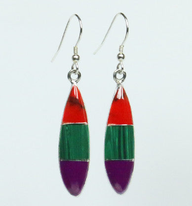 Mexican Earrings Ellipse 3 Colour Red/Green/Purple