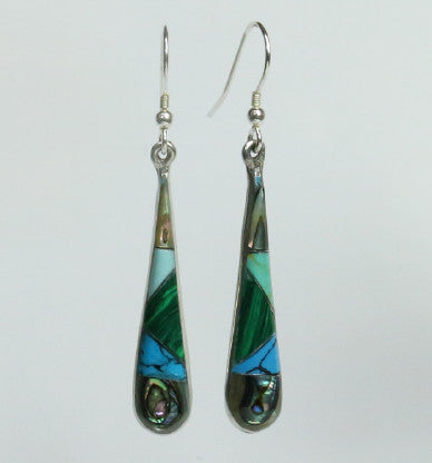 Mexican Earrings - Long Drop Blue/Abalone