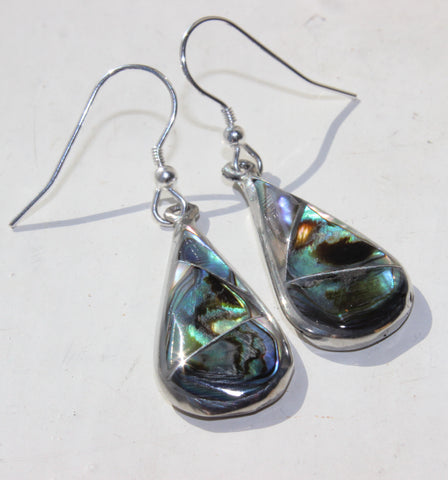 Mexican Earrings Large Teardrop Abalone