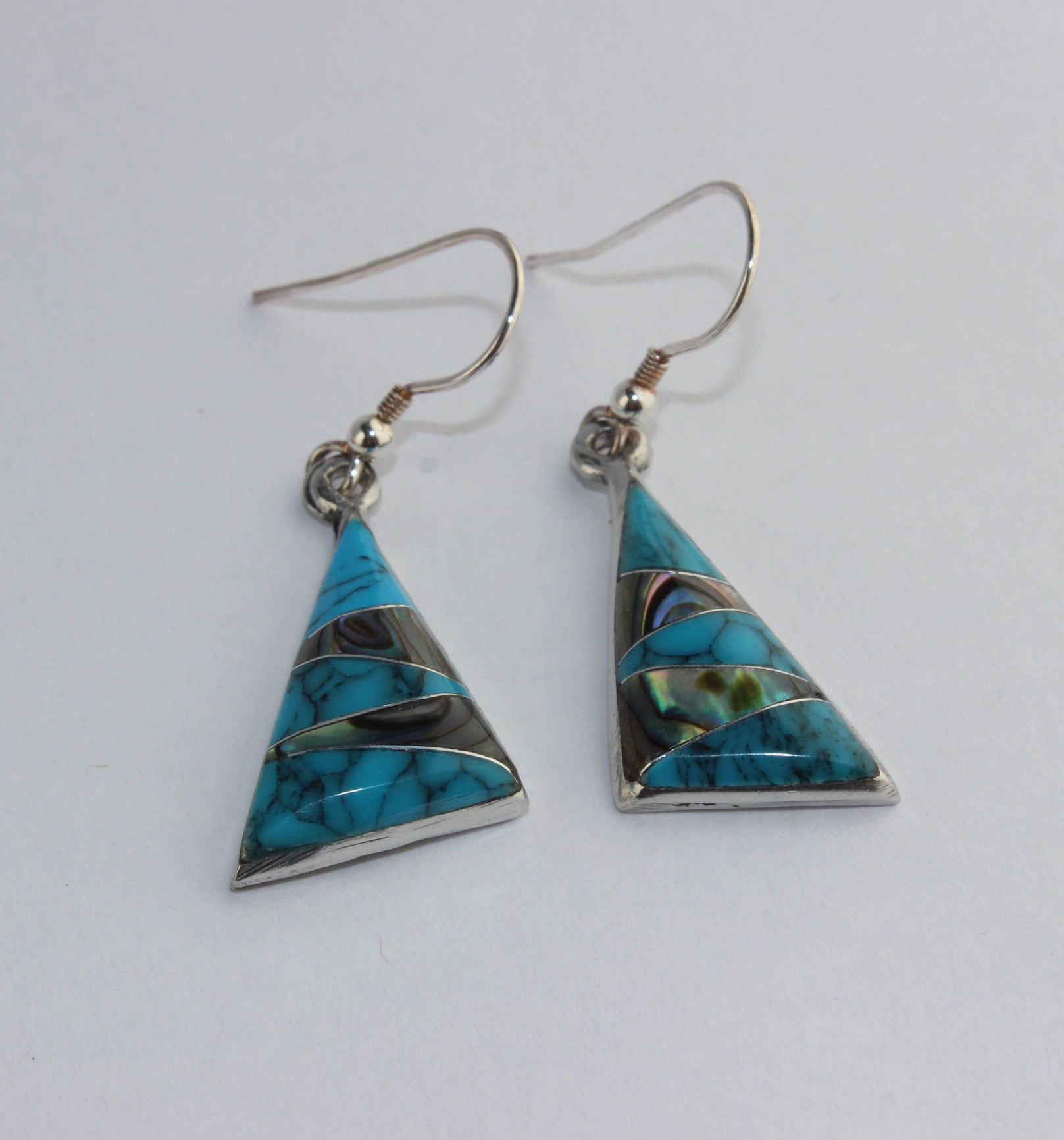 Mexican Earrings Triangle Blue/Abalone