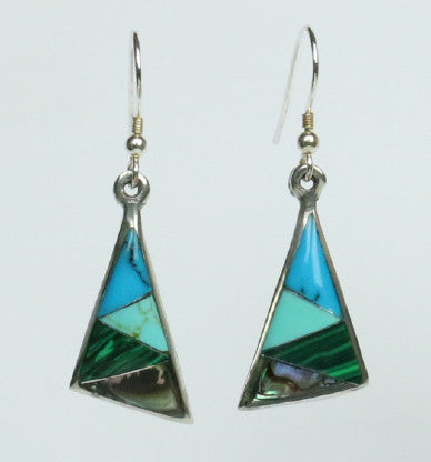 Mexican Earrings Triangle 4 Colour with Abalone