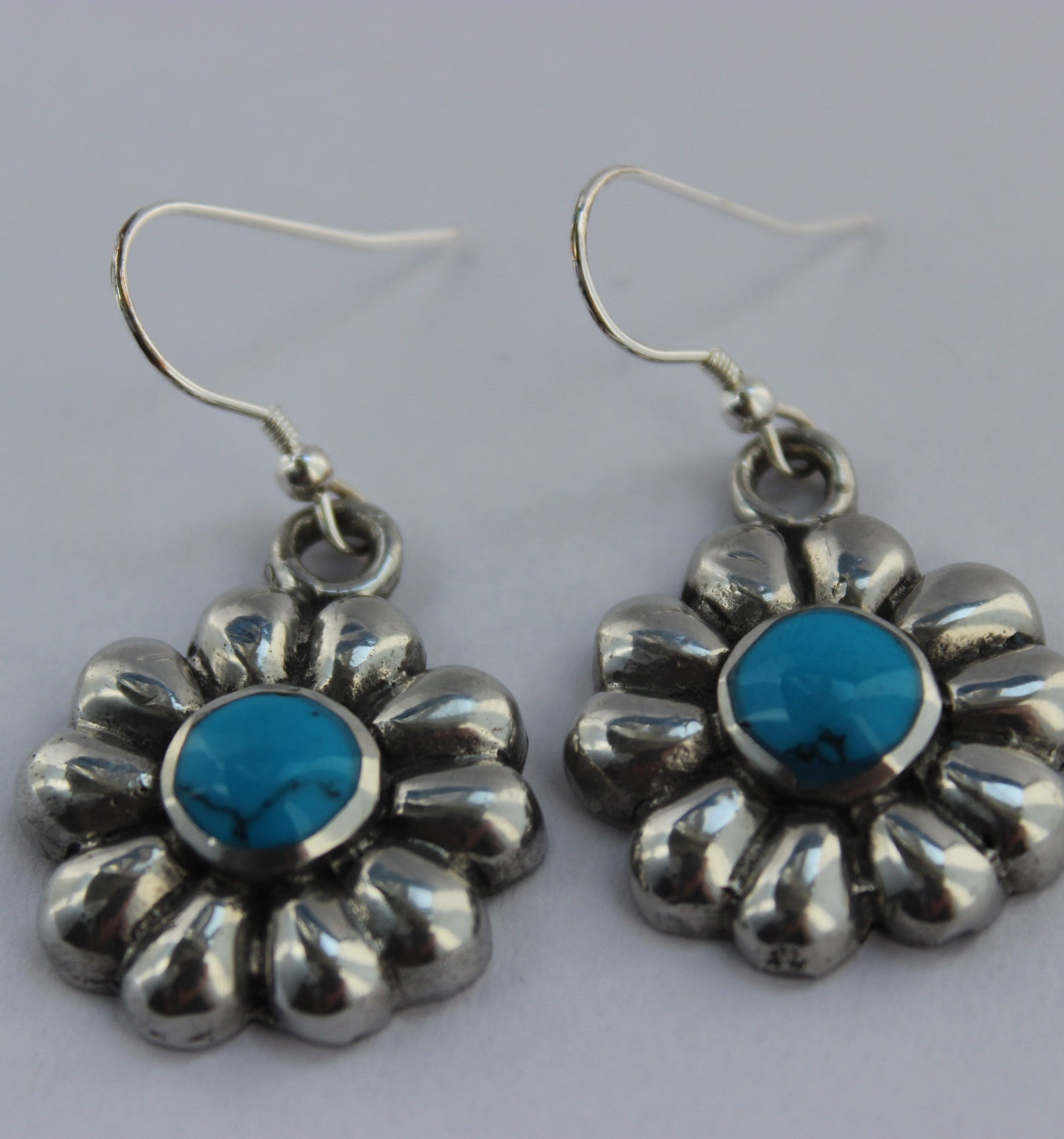 Mexican Earrings Flower Turquoise