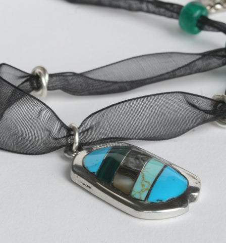 Mexican Jewellery Oval Blue/Abalone Pendant Necklace