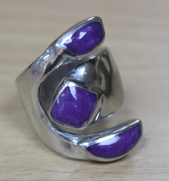 Mexican Triple Purple Ring - Adjustable
