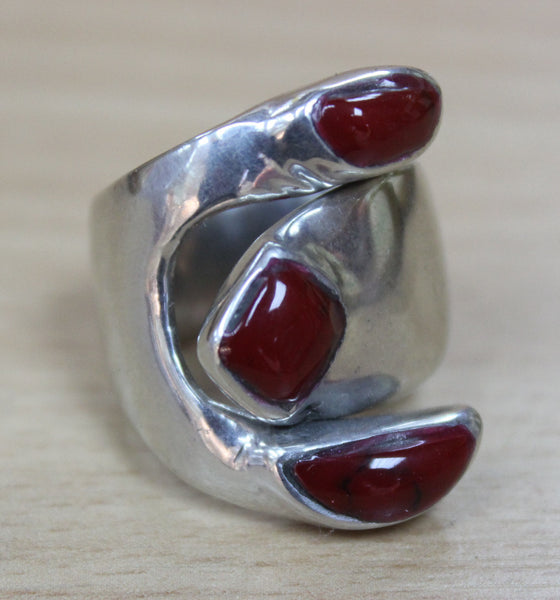 Mexican Triple Red Ring - Adjustable