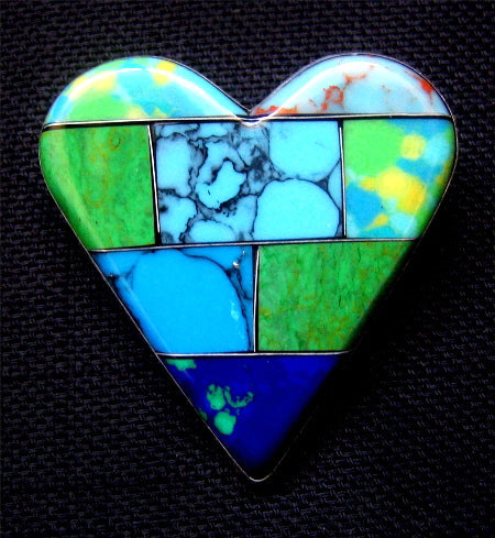 Mosaic Heart Brooch - Blue/Green