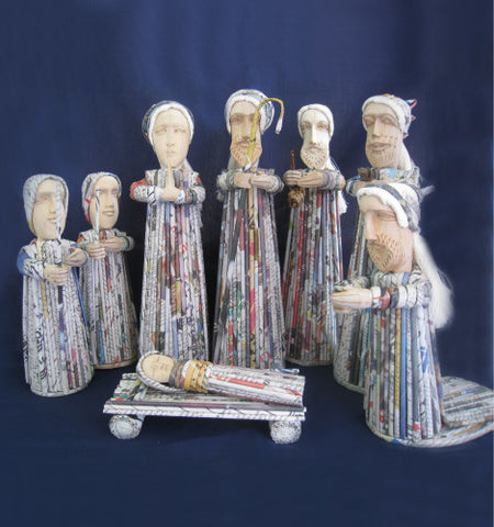 Recycled Newspaper Nativity Set
