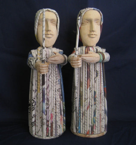 Recycled Newspaper Nativity Shepherd Boys