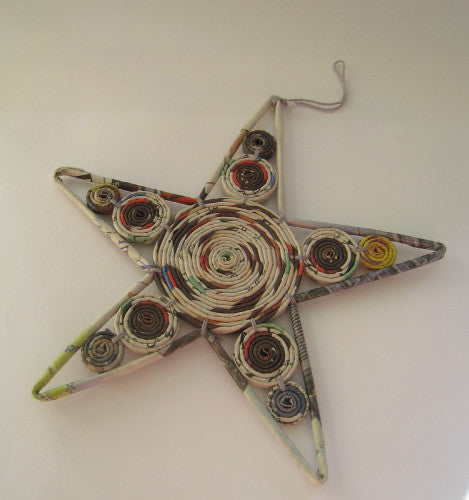 Recycled Newspaper Star Decoration