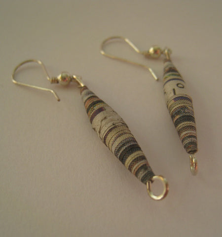 Earrings Newspaper One Elongated Bead