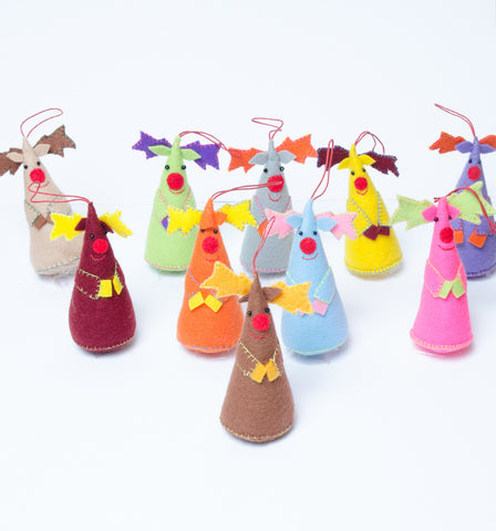 Felt Cone Reindeer Decorations