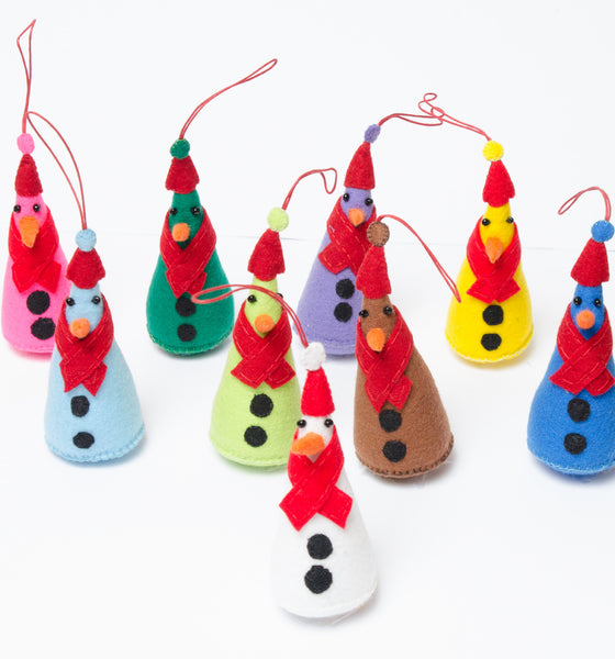 Felt Cone Snowmen Decorations