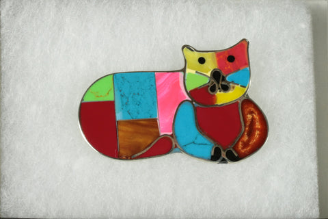 Mosaic Cat Brooch