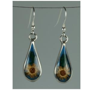 Mexican Earrings Teardrop Dried Flower Yellow