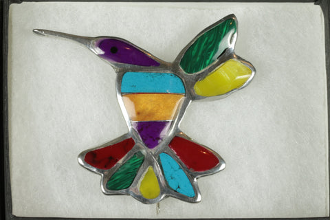 Mosaic Hummingbird Brooch