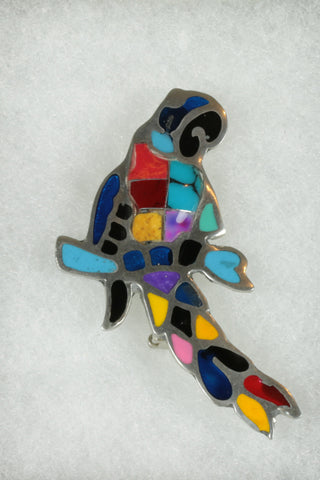Mexican Parrot Brooch