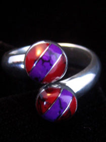 Dual Red & Purple Stripe Ring - Adjustable
