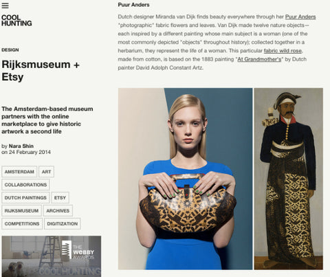 Tovi Sorga  printed leather clutch bag design for the Rijksmuseum  featured on Cool Hunting