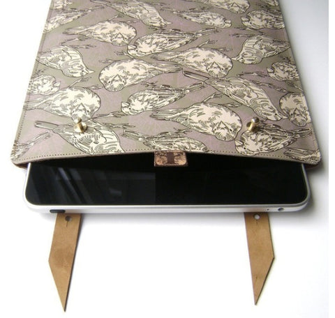 Tovi Sorga printed leather Bird Print laptop case on Curiously Colorful