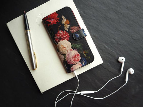 Floral leather phone case - biodegradable cellphone case - sustainable leather accessories by Tovi Sorga