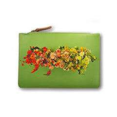 Floral leather bag by Tovi Sorga and Electric Daisy Flower Farm