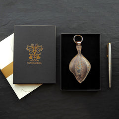 Luxury leather key ring in a Plaice fish design handcrafted by Tovi Sorga