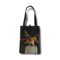 Floral leather tote bag by Tovi Sorga and Electric Daisy Flower Farm