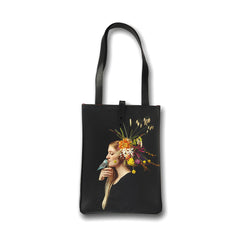 Leather tote bag with flowers by Tovi Sorga and Electric Daisy Flower Farm