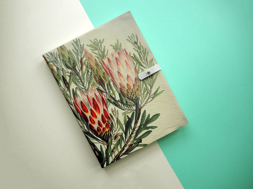 Leather journal floral print design recycled paper Tovi Sorga Protea
