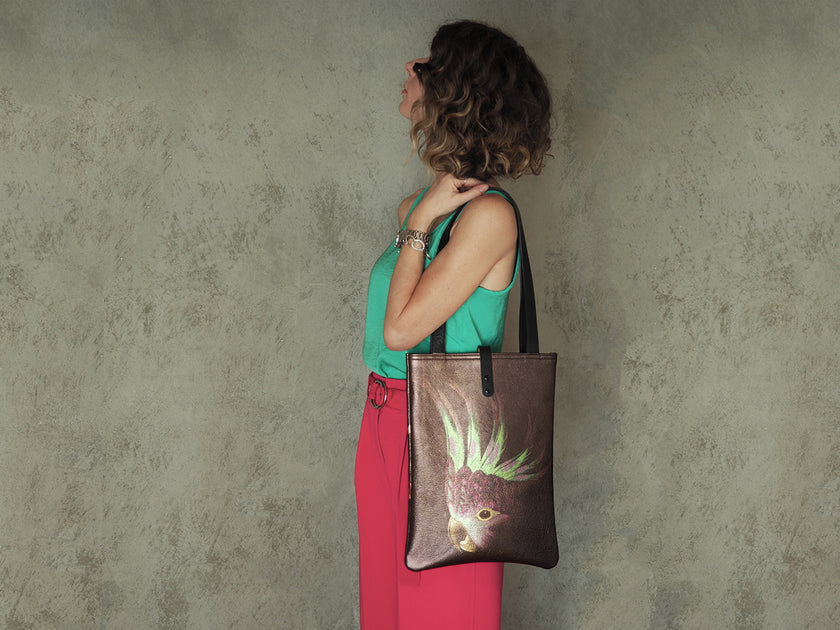 Designer leather tote bag printed leather bags by UK accessories brand Tovi Sorga