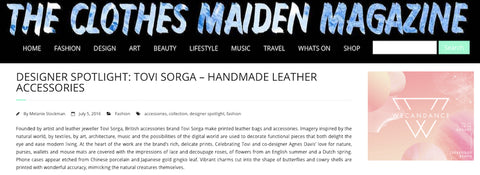 Fashion Blog the Clothes Maiden features Tovi Sorga British leather accessories designer