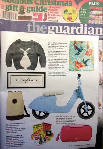 Tovi Sorga printed leather hummingbird iPad case in The Guardian Christmas Gift Guide November 2012