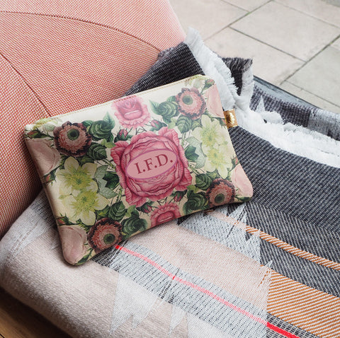 Personalised Monogram Bag Purse Clutch Gift Idea Pure Printed Leather with Vintage Roses by Tovi Sorga