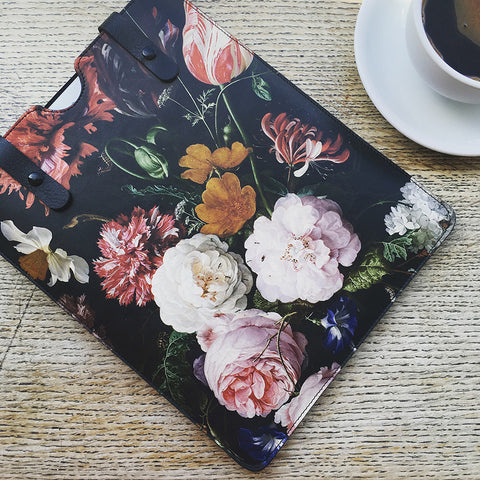 Leather iPad Case Floral sleeve design handmade in Britain by Tovi Sorga