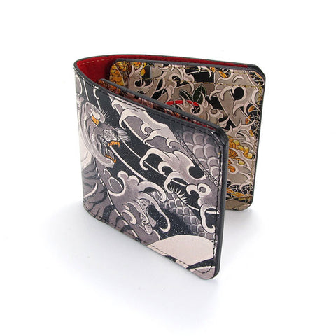 Genuine Leather men's wallet tattoo print by Tovi Sorga