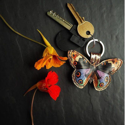 Luxury keyring: leather butterfly, colorful printed designs made in the UK by Tovi Sorga