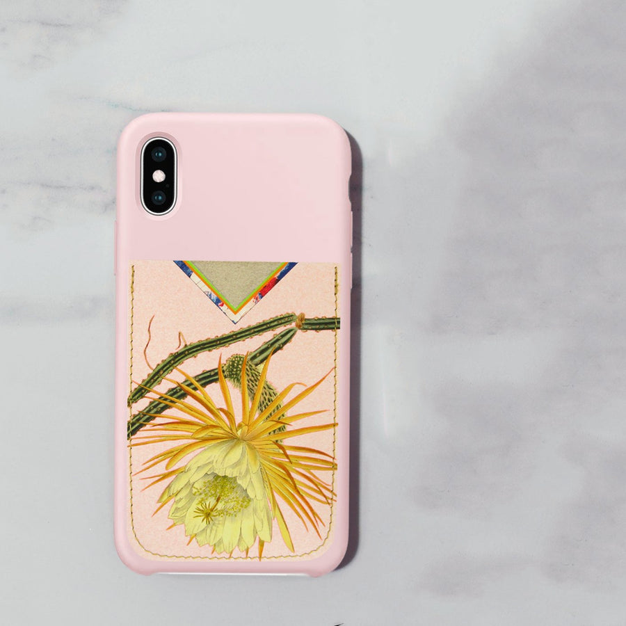 Leather Card Holder / Phone Sticker Wallet Pocket - Cactus Flower