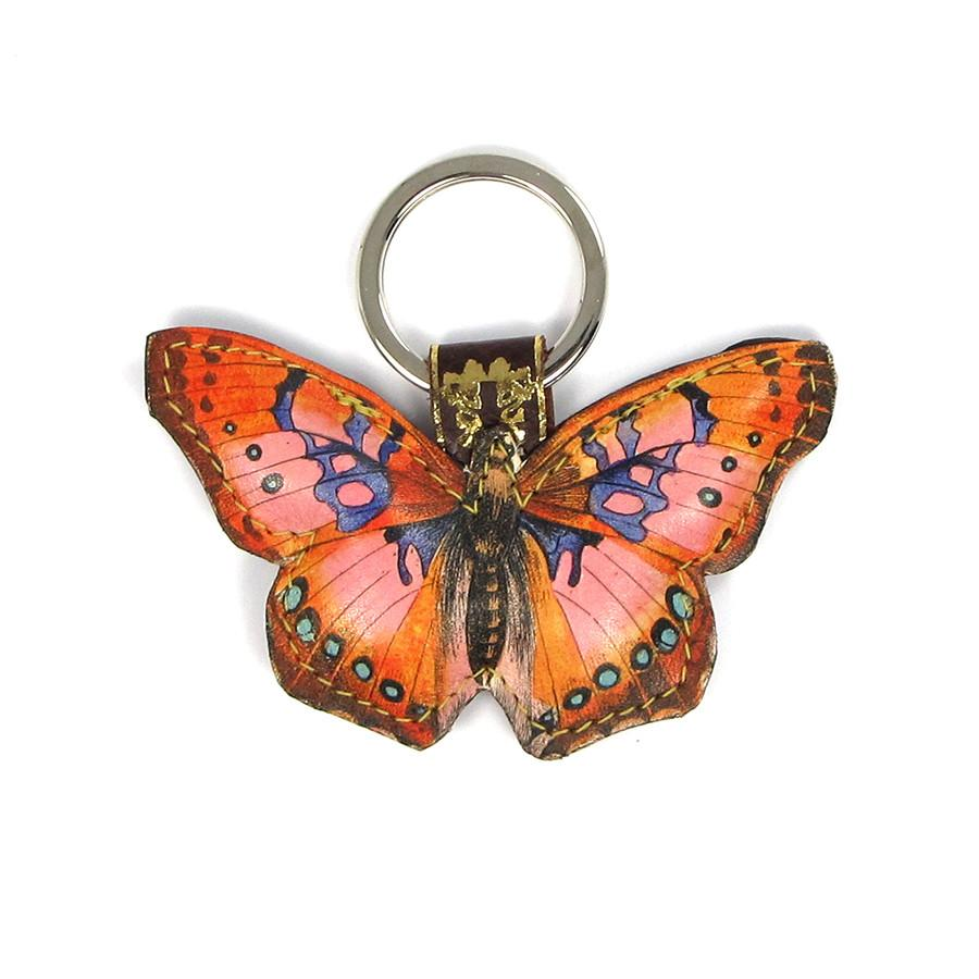 Leather Key Ring / Bag Charm - Cocktail Butterfly - Tovi Sorga - 1