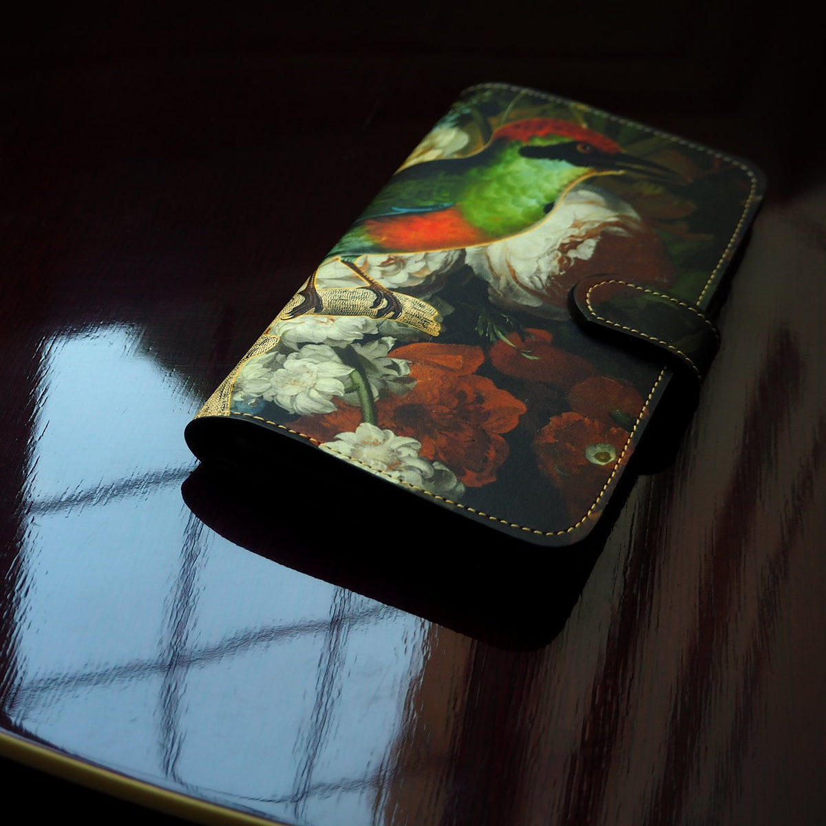 Leather Folio Phone Case - nature print - Bee eater bird - Black case - Botanical Dream Phone case Tovi Sorga