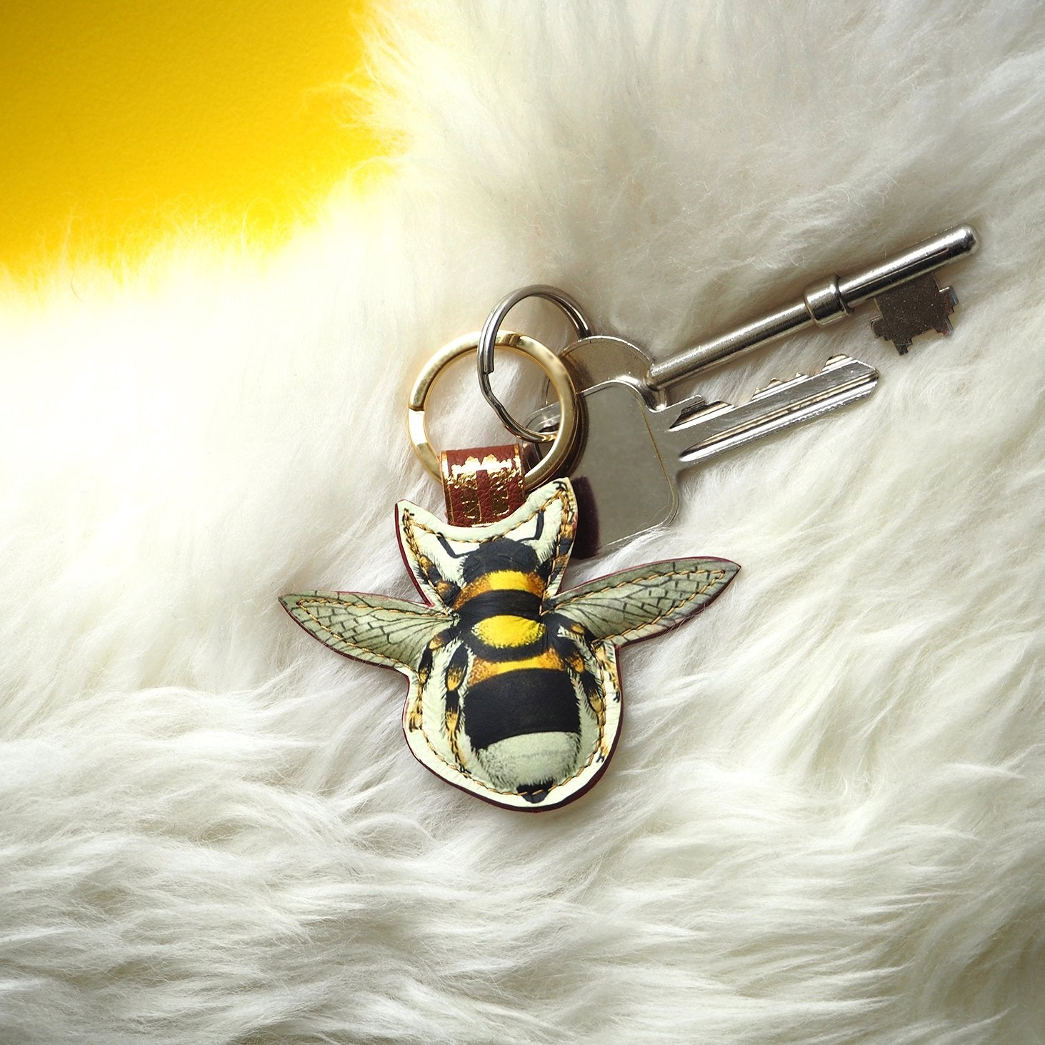Leather Key Ring / Bag Charm - Bee Key Ring / Bag Charm Tovi Sorga Yellow