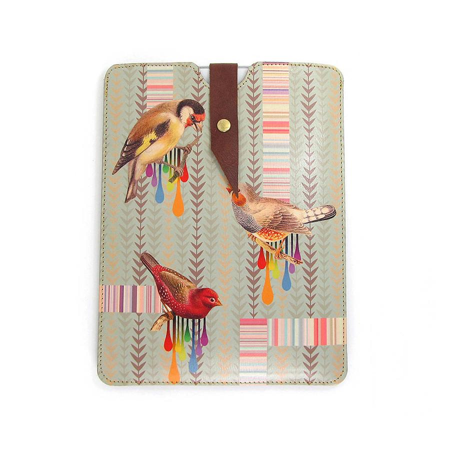Leather iPad / Kindle / Tablet Case - Birds and Stripes Phone case Tovi Sorga iPad Mini 1/2/3/4 / Small tablet or Kindle case Sleeve Teal