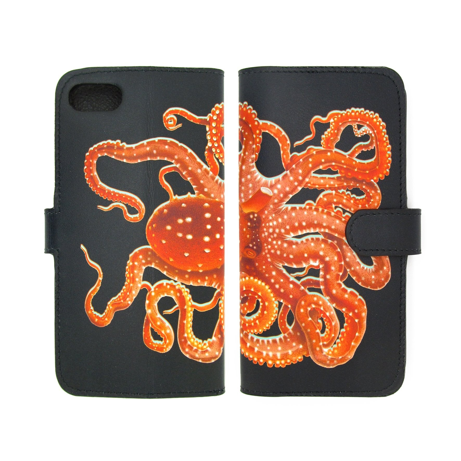 Octopus phone case – sea creature – ocean phone case – bold printed leather phone case - fine leather goods- Cephalopoda phone case design