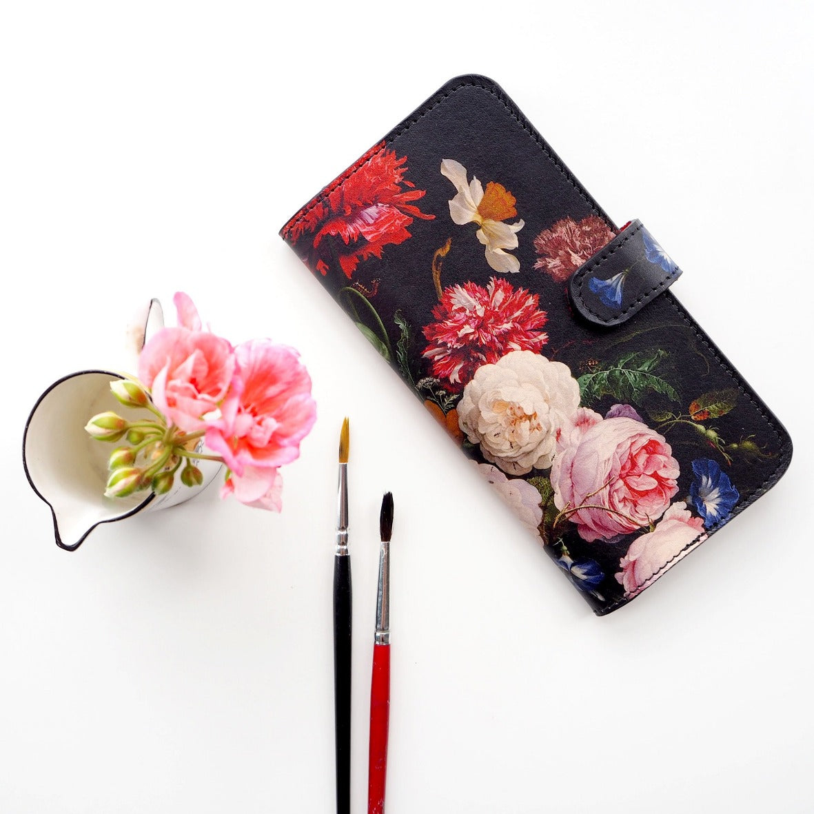 3.	Real leather - environmentally friendly phone case uk - Phone case for Samsung Galaxy S10 plus / S20 / S10E-  Beautiful floral  - Dutch print - Rachel Rusch