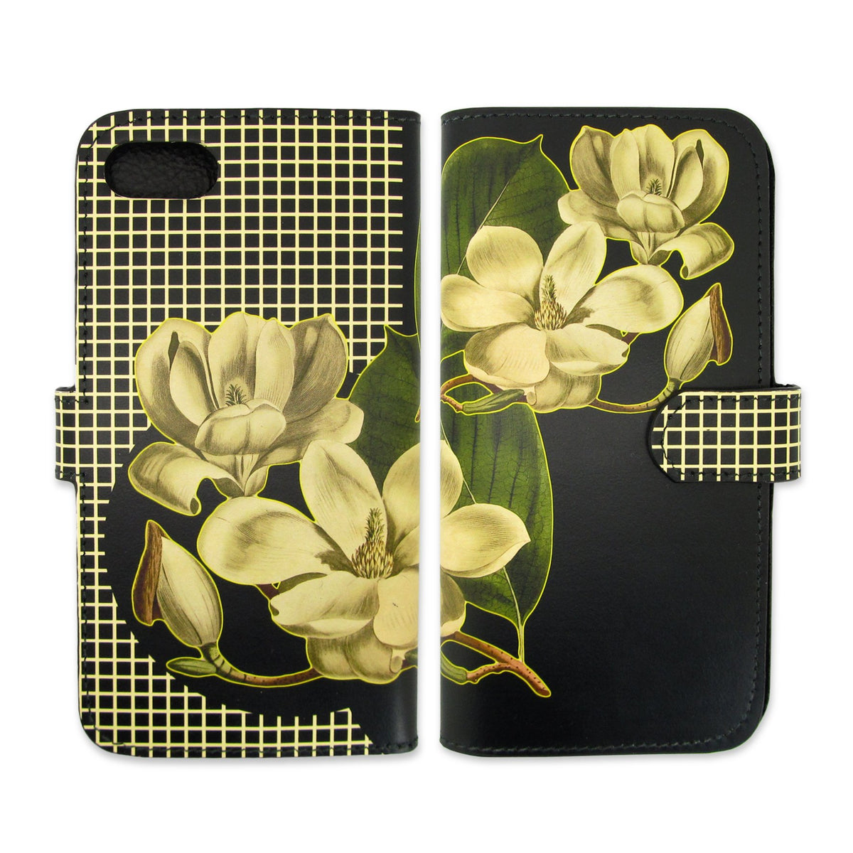 Leather Wallet Phone Case - Black Magnolia Phone case - Flower phone case - Tovi Sorga leather work -