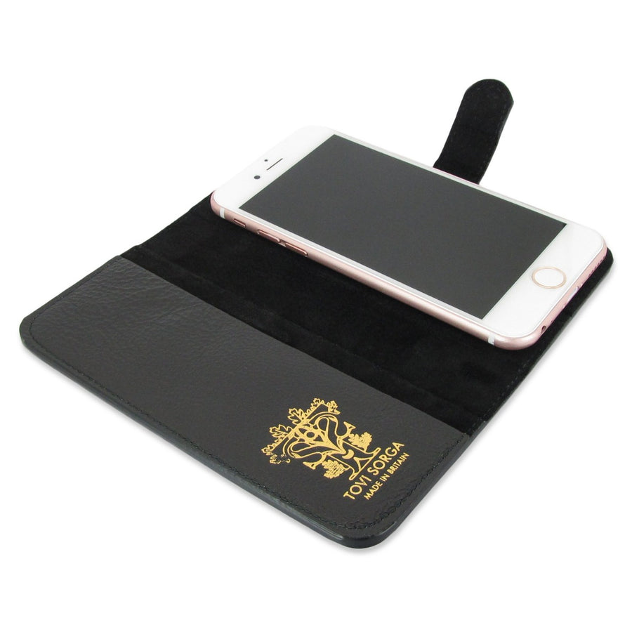 Leather Wallet Phone Case - Black Magnolia