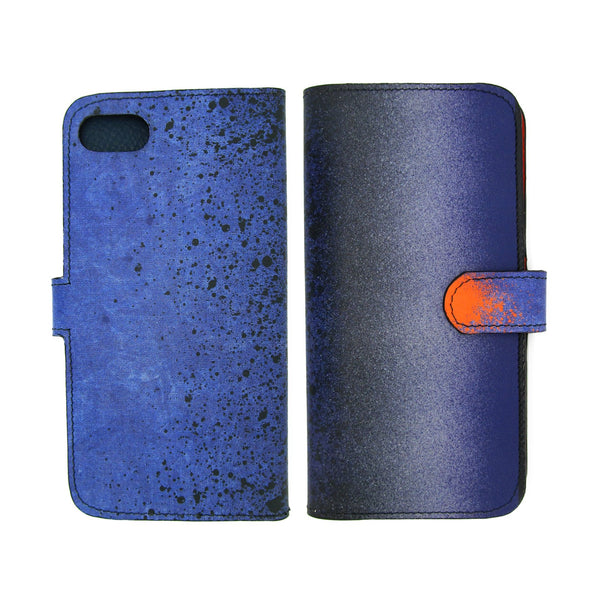 Blue leather iPhone X Case/iPhone 8 Case/Phone Case: modern printed designer smartphone case by Tovi Sorga