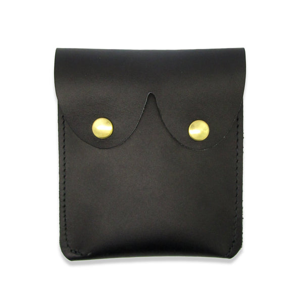 Black Leather Boob Pouch