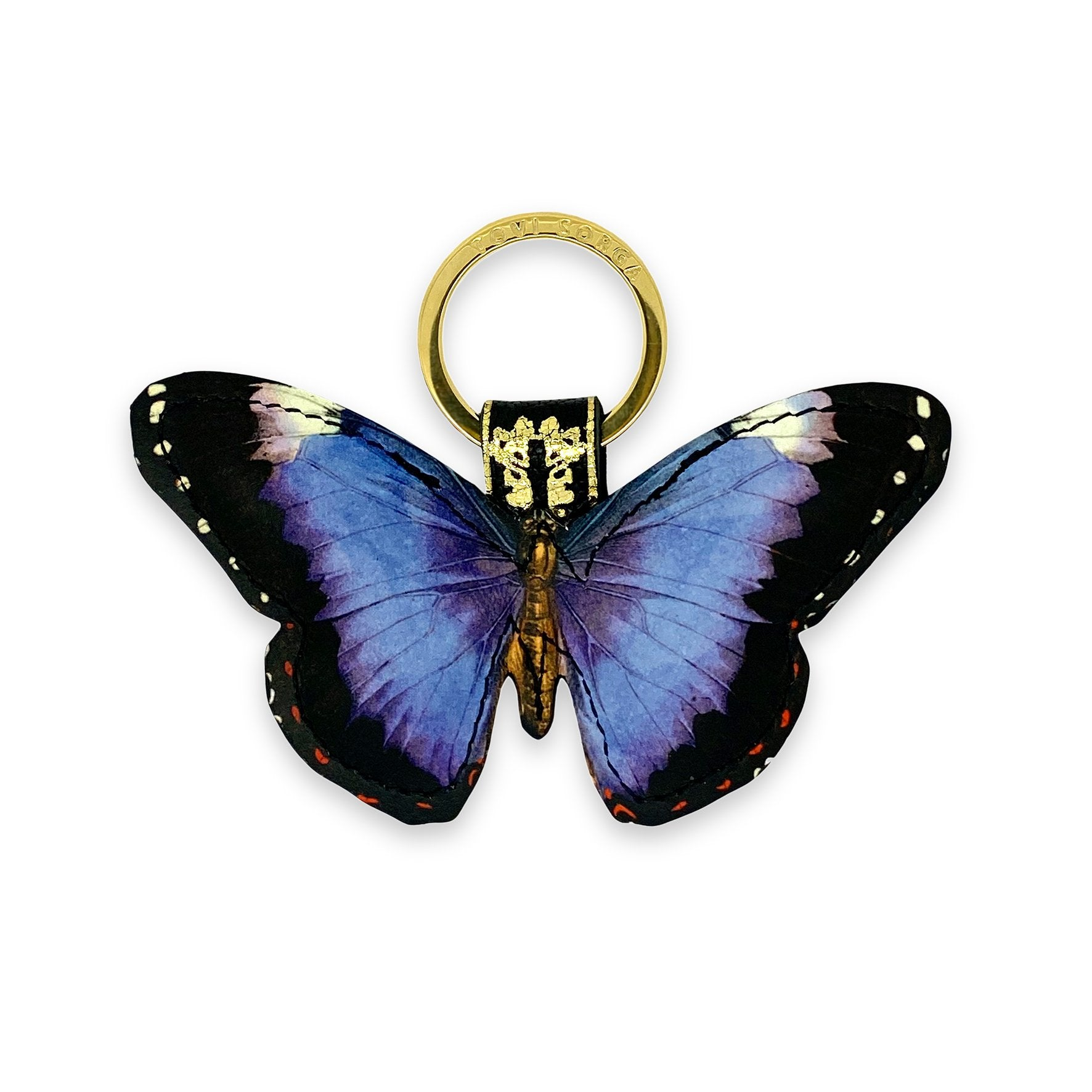 Leather Keyring / Bag Charm - Royal Purple Butterfly Key Ring / Bag Charm Tovi Sorga