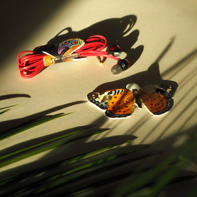 Leather Cable Tidy / Headphone Holder: Botanical Butterflies